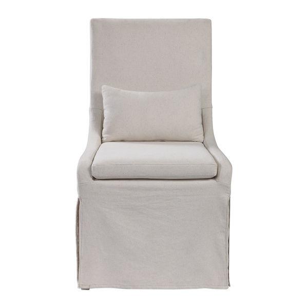 White linen slipcovered Coley Chair